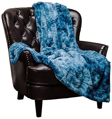 Chanasya Super Soft Fuzzy Faux Fur Throw Blankets - Fluffy Plush Lightweight Cozy Snuggly with Sherpa for Couch Sofa Living Room Bedroom - Darkblue Fall & Winter Home Decor (50x65 Inches) Blue Blanket