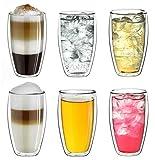 """Creano doppelwandiges Thermoglas 250ml """"DG-SH"""", Doppelwandglas auch für kleine Hände geeignet, doppelwandige Kaffeegläser, Teegläser, Latte Gläser 6er Set"""