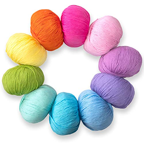 Studio Sam Pure Cotton Yarn Set for Knitting and Crochet. Pack of 10 Skeins, Total 1850 Yards. Great for Baby Blankets and Clothes. Boho Brights Collection.