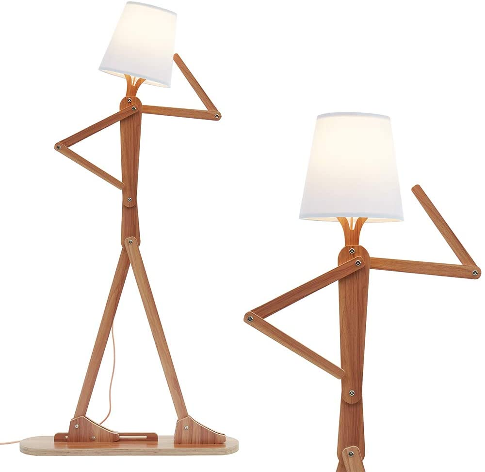 HROOME Modern Decorative Cool Floor Max 68% OFF Wood Don't miss the campaign Creative Tall Swin Lamp