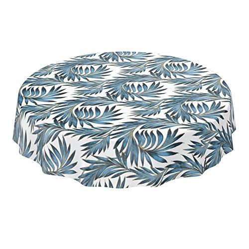 ANRO Mantel de hule lavable, diseño de hojas de palmera, color dorado y azul, redondo, 120 cm