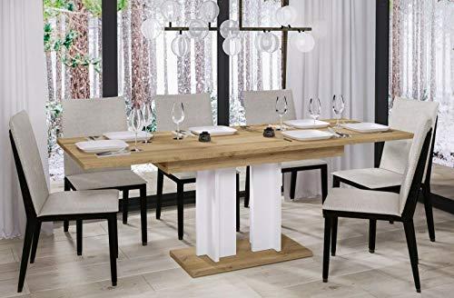 Endo-Moebel Esstisch Aurora 130cm - 210cm erweiterbar ausziehbar Säulentisch Küchentisch (Wotan Eiche)