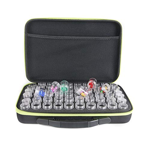 LZDseller01 - Caja de 60 botellas de pintura de diamante, caja de bordado de diamante, caja de almacenamiento de pintura de diamante, caja de almacenamiento para pintura de accesorios de pintura y bordado, No nulo, Verde, Tamaño libre