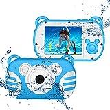 CamKing Cámara Digital para niños bajo el Agua, Zoom Digital HD I080P 8X, Cámara de Dibujos Animados para niños con Pantalla de 2.7 'con Flash, Cámara Preescolar Juguetes