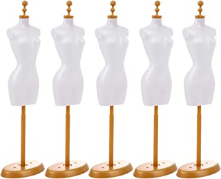 EXCEART Lot de 5 mini robes de mannequin en forme de mini mannequin pour écran de poupée Blanc