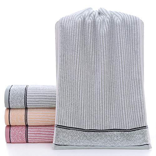 Fuduoduo Toalla de Suave y Absorbente,Toalla Gruesa de algodón de Tira Vertical de Color Liso 35 * 75-Gris 3PCS,Toalla De BañO De AlgodóN Puro