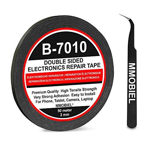 MMOBIEL 2 mm doppelseitiges Klebeband stark klebend Tape 50 m Rolle (Schwarz) für Smartphone Tablet Reparatur