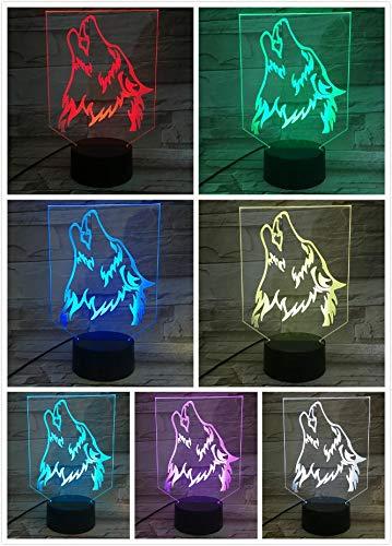 LED Nachtlicht Wolf Mond Kopf Hund Muster Brüllen Heulendes Tier Kinder Home Decoration Neuheit Beleuchtung 3D Lampe