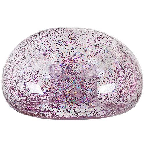 MIK Funshopping Aufblasbarer Sessel mit Glitterfüllung transparent bis max. 80 kg 100 x 109 x 76 cm (Rosagold)