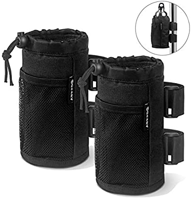 GEARV 2-Pack Bar Cup Holder for Stroller, Bike and Wheelchair; Universal Cup Holders for UTV/ATV, Car, Scooter, Boat; Drink Holder Accessories with Net Pocket and Cord Lock
