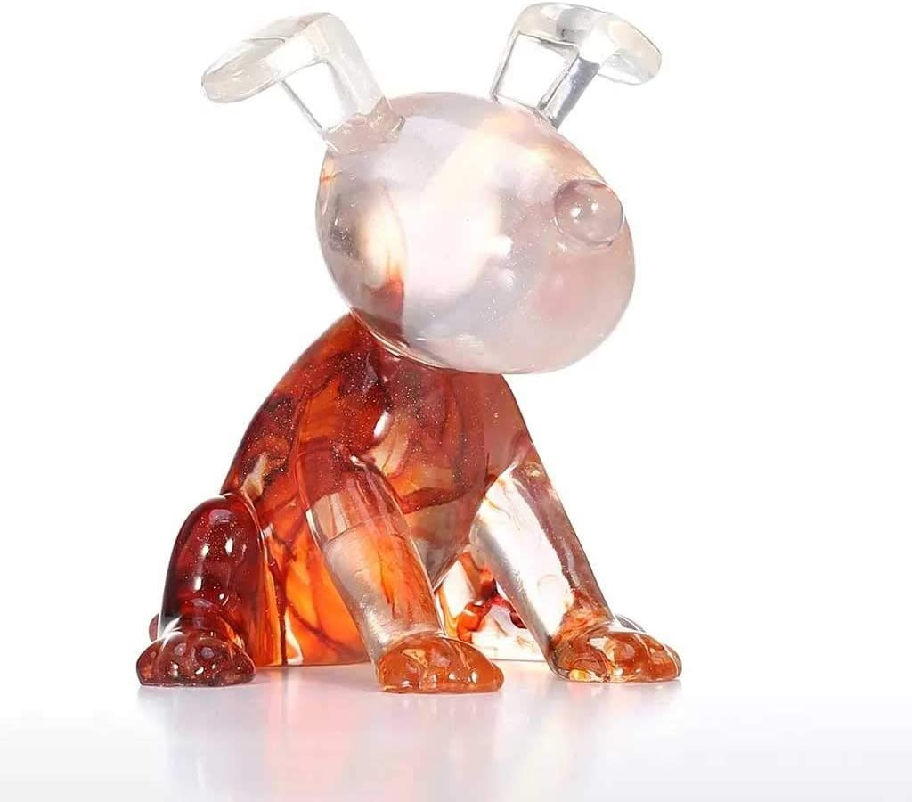 JJSPP Transparent Resin Cute Puppy Model Transparent Glass-Like
