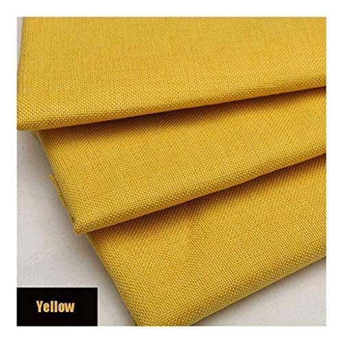 Pure linnen stof linnen materiaal, geel zachte effen linnen look bekleding stof, 39 inch linnen stof voor dressoir, gordijnen, bruiloft, bekleding bloempot decoratie en tafelkleed (100 CM X 148 C