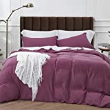 Bedsure Washed Duvet Cover Set Full/Queen Size with Zipper Closure, Ultra Soft Hypoallergenic Comforter Cover Sets 3 Pieces (1 Duvet Cover + 2 Pillow Shams), Purple Eggplant, 90X90 inches