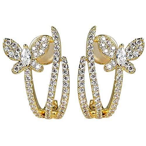 Hanone Pendientes Mariposa Perla Circón Pendientes Diamantes Pendientes Mariposa Calados Plata
