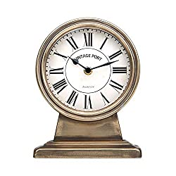 NIKKY HOME Gold Table Clock, Silent Non-Ticking Battery Operated Desk Clock for Living Room Decor Shelf - Chic Home Décor for Tabletop, Countertop