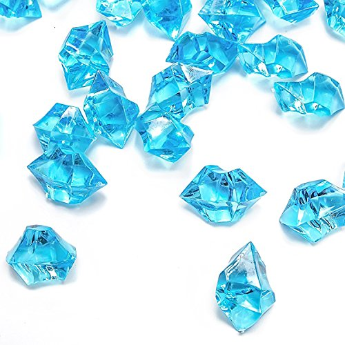Blue Fake Crushed Ice Rocks, 150 PCS Fake Diamonds Plastic Ice Cubes Acrylic Clear Ice Rock Diamond Crystals Fake Ice Cubes Gems for Home Decoration Wedding Display Vase Fillers by DomeStar