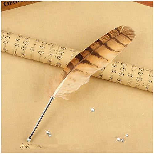 Feder-Kugelschreiber, Vintage-Eulenfedern, raffinierter Stab-Kugelschreiber für Schule Schreiben (1 Eulenfeder-Kugelschreiber)