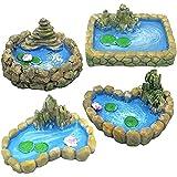 CXHM Modelo de estanques de estatuilla de Piscina Vintage, 4 Piezas de Resina Mini artesanía de Bricolaje Micro Paisaje Adornos de Estanque