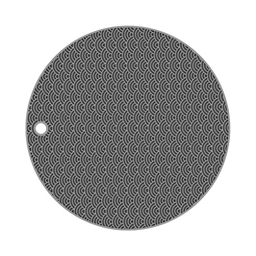 Chunyang Insulation Placemats Silicone Table Mat Cushion Non-Slip Heat Resistant Insulation Placemats Heat Resistant Pot Dish Pad Grey Round