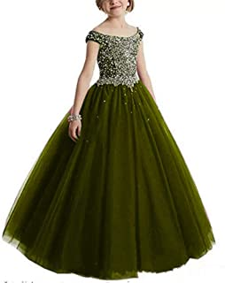 Girl's Off Shoulder Beaded Beauty Pageant Dress Cap Sleeves Ruffled Princess Ball Gown