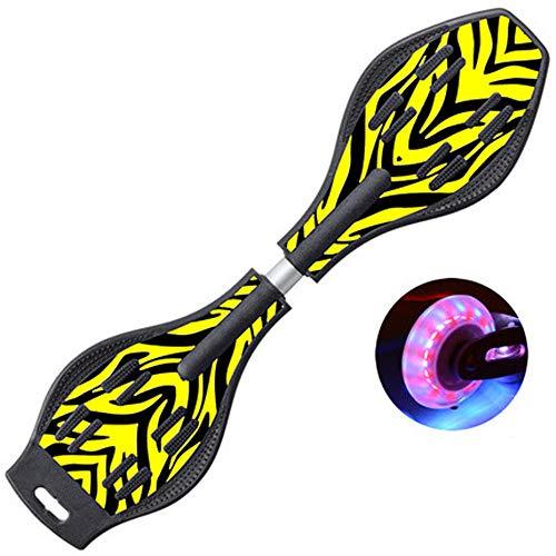 ZJJLZJ Waveboards, kleine Kinder und Kinder Schwimmen Skateboard, Zwei Runden schwingen Vitalität, Board Twisting Roller Skateboarding,-Gelb