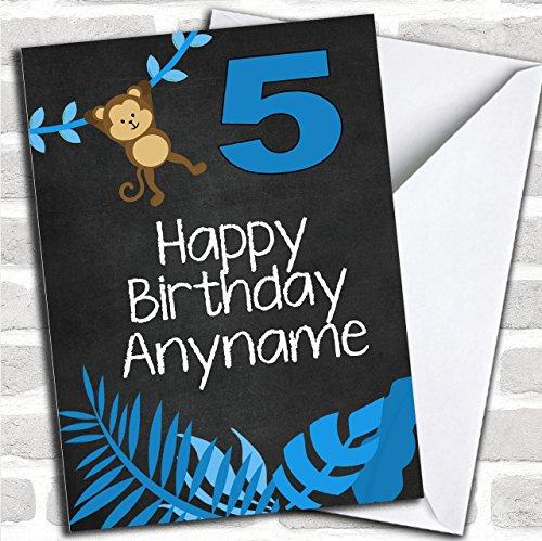 Blauwe aap schommelende kinderverjaardag aangepaste wenskaart- verjaardagskaarten/kinderverjaardagskaarten