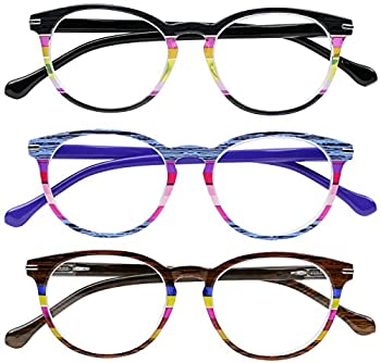 Success Eyewear Reading Glasses Set of 3 Quality Spring Hinge Womens Readers Stylish Striped Glasses for Reading +1.25