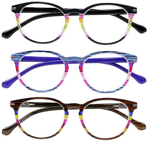 Reading Glasses Set of 3 Quality Spring Hinge Womens Readers Stylish Striped Glasses for Reading +1