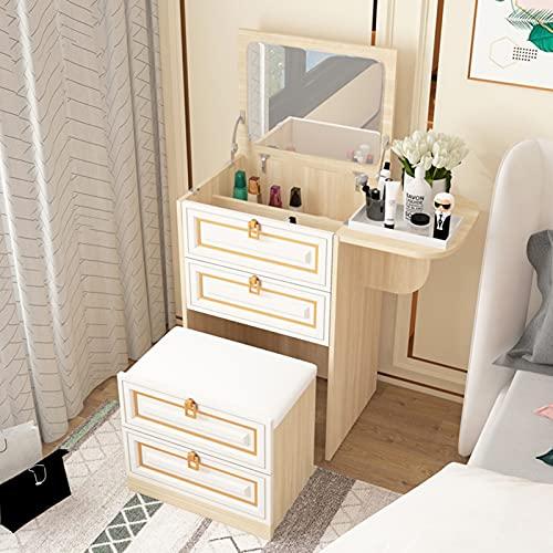 QLIGHA Mesa de Maquillaje pequeña para Dormitorio con Espejo de tocador y Taburete Acolchado Tocador Multifuncional Moderno Mini Armario de Almacenamiento