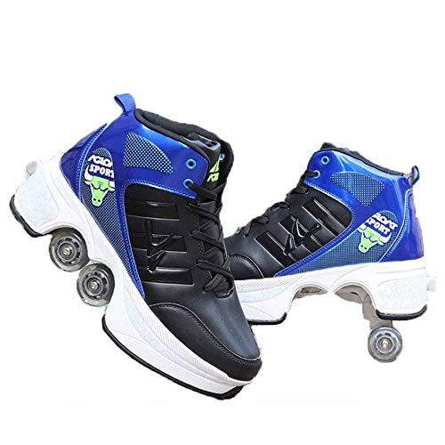Pinkskattings@ Zapatos con Ruedas Zapatillas con 4 Ruedas para Niños Y Niña Deformación Zapatillascon Ruedas Se Puede con Ruedas Automática Calzado De Skateboarding