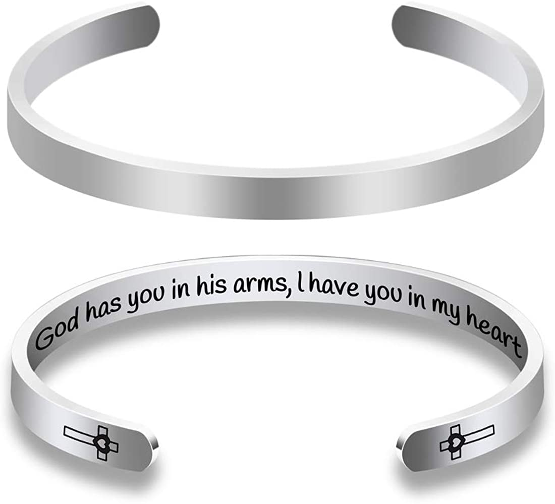 In Memory of Cuff Bangle Gift Loss of One Memorial Bracelet Sympathy Gift Remembrance for Women Men God Has You In His Arm,i Have You In My Heart Dog Cat Remembrance Jewelry