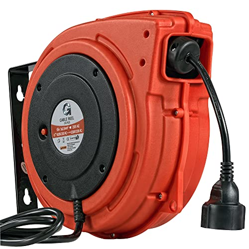 G Alargador retráctil de 2,5 mm² x 15 m Carrete de cable de extensión retráctil