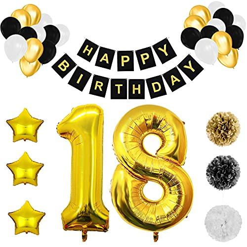 BELLE VOUS Decoración Cumpleaños # 18 Globos Aluminio Número y Estrella – Pancarta Reusable Happy Birthday Negro y Dorado – Globos Cumpleaños de Látex Negro, Blanco y Dorado - Pompones para Decorar
