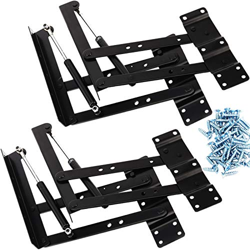 FAATCOI 2 PCs Folding Coffee Table Hinges Lift Up Top Hinges Lifting Frame Mechanism with Gas Hydraulic Support Hardware Hinge Rack Spring for Desk Table Furniture Shipped with 30 Screws