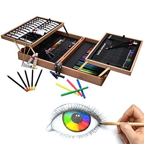 Artina Set de Pintura 127 Piezas Bologna maletín Madera óleos lápices de...