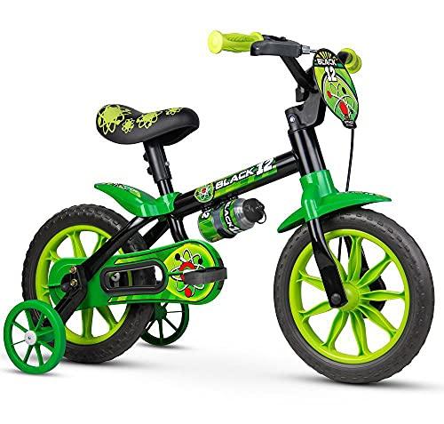 Bicicleta Infantil Aro 12 Black 12 com Rodinhas, Nathor