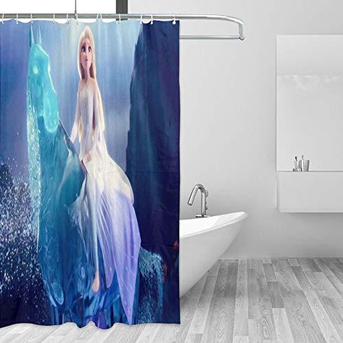 Die Eiskönigin Elsa Duschvorhänge, Badezimmer-Vorhang-Set mit Haken, wasserdichte Duschvorhänge, Polyester, Badvorhang, Badezimmer-Dekoration, 168 x 182 cm