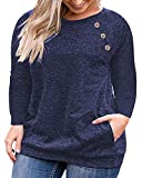 VISLILY Womens Plus Size Shirts Loose Blouse Shirts with Pockets Dark Blue 26W