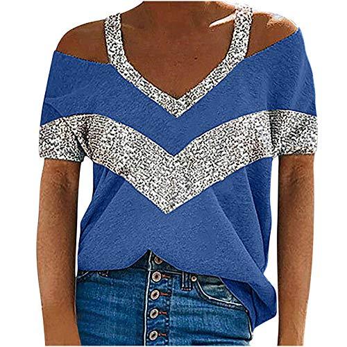 AMhomely Camisas y blusas para mujer con cuello en V, sueltas, sexy, de manga corta, blusa tipo túnica, para oficina, talla británica