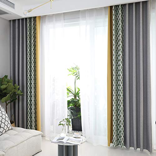 Nileco Volle verduistering doek gordijnen, panelen polyester raam drapiert moderne verduistering Valance voor woonkamer slaapkamer 1 stuks
