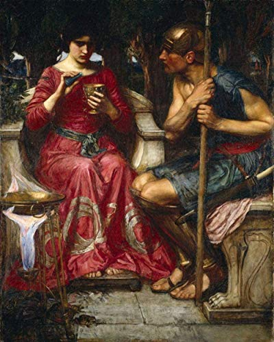 GEZHF New Paintings Drawn by Numbers for Adults and Children-John William Waterhouse Jason and Medea-DIY Digital Paintings on The Digital kit on The Canvas (Frameless)