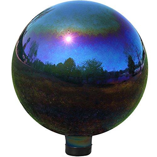 Sunnydaze Gazing Globe Glass Mirror Ball, 10 Inch, Stainless Steel Rainbow
