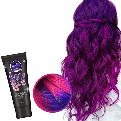 2020 Newest Magical Thermochromic Color Changing Wonder Hair Dyes, 50ML Temporary DIY Hair Coloring Dye, Thermo-Sensing Shade-Shifting Effect Hair Dyes, Purple