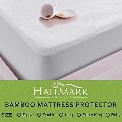 HALL-MARK Waterproof Bamboo Mattress Protector, White, Single Size