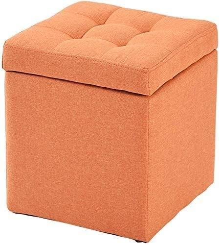 QIANMEI Puf Caja de almacenaje Taburete de pie con Almacenamiento | Cube OTOMAN Pouf Back Seat | Silla de Puffes con Tapa de Tela de Lino | Ahorro de Espacio