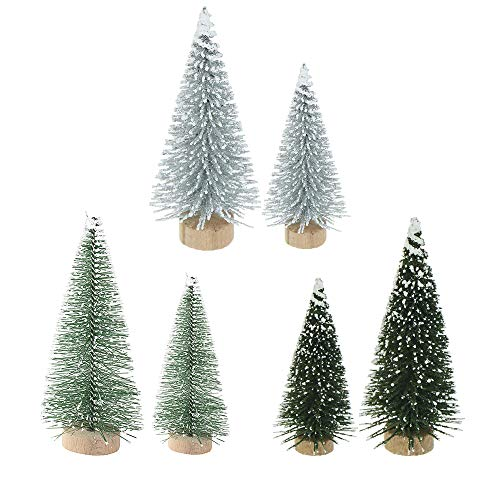 Yahpetes Miniature Christmas Tree 6 Pcs Pine Trees Sisal Trees Snow Frost Ornaments with Wooden Bases for Miniature Scenes, Christmas Crafting and Designing, Mixed Size