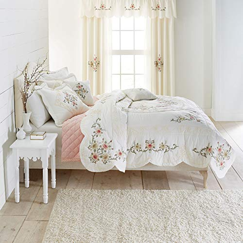 BrylaneHome Ava Oversized Embroidered Cotton Quilt - Full/Queen, Ivory