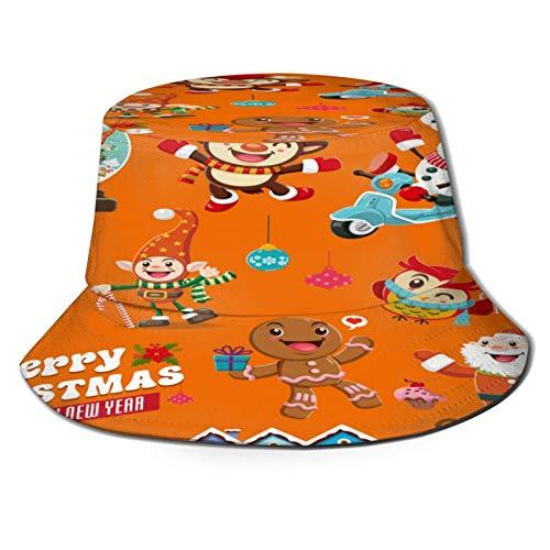 TTLUCKY Fishing Hat,Vintage Christmas Poster Design Reindeer Penguin,Hiking Boonie Safari Sun Caps Traveling for Men&Women for Outdoor Gardening