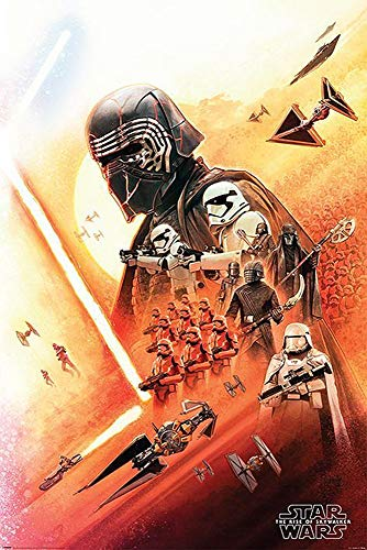 Star Wars Póster Episode IX: The Rise of Skywalker - Kylo REN & Empire Troops (61cm x 91,5cm) + 2 Marcos Transparentes con suspención