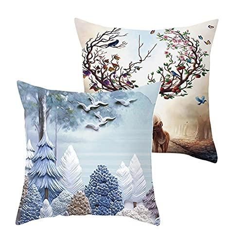 LOYYE 2 pcs Fundas de Cojín Decorativos Bosque Cuadradas Terciopelo Suave Funda de Almohada Cubierta para Cojines Sofá Sala de Estar Habitación Decor Throw Pillow Case J5579 Pillowcase+Core_45x45cm